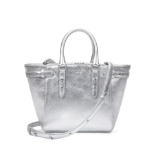 Mini Marylebone Tote in Smooth Metallic Silver. Handbags & Clutches from Aspinal of London