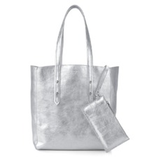 Aspinal Essential Tote in Smooth Metallic Silver. Handbags & Clutches from Aspinal of London