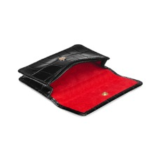 Business & Credit Card Case in Black Croc & Red Suede. Business & Credit Card Holders from Aspinal of London
