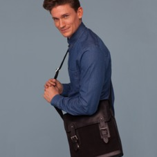 Small Shadow Messenger in Black Nubuck. Mens Messenger Bags from Aspinal of London