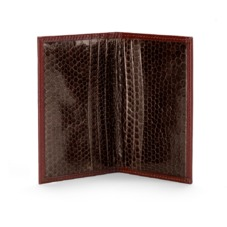 Exotic Double Credit Card Case in Cognac with Brown Snake. Business & Credit Card Holders from Aspinal of London