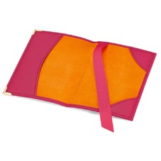 Plain Passport Cover in Deep Fuchsia Smooth & Orange Amber Suede. Leather Passport Covers from Aspinal of London