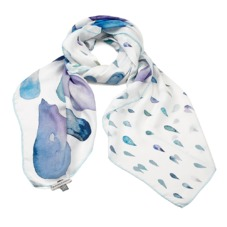 Large Raindrop Cashmere Blend Shawl Scarf in Aqua. Ladies Silk Scarves from Aspinal of London