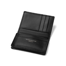 Marylebone Credit Card Holder in Black Pebble. Business & Credit Card Holders from Aspinal of London