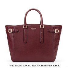 Large Marylebone Tech Tote in Burgundy Python. Handbags & Clutches from Aspinal of London