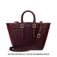 Midi Marylebone Tech Tote in Burgundy Saffiano. Handbags & Clutches from Aspinal of London