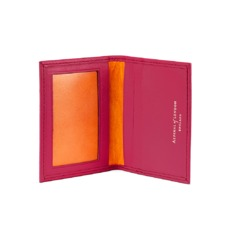 ID & Travel Card Case in Smooth Deep Fuchsia & Amber Suede. Business & Credit Card Holders from Aspinal of London