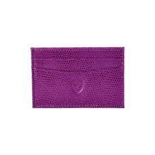 Slim Credit Card Case Violet Lizard & Cream Suede. Business & Credit Card Holders from Aspinal of London