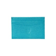 Slim Credit Card Case in Turquoise Lizard & Cream Suede. Business & Credit Card Holders from Aspinal of London