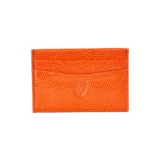 Slim Credit Card Case Orange Lizard & Cream Suede. Business & Credit Card Holders from Aspinal of London