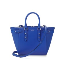 Mini Marylebone Tote in Smooth Matte Cobalt Blue. Handbags & Clutches from Aspinal of London