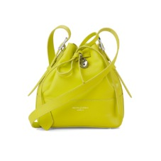 Mini Padlock Bucket Bag in Smooth Chartreuse Yellow. Handbags & Clutches from Aspinal of London