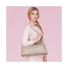 Aspinal Hobo Bag in Fog Nubuck. Handbags & Clutches from Aspinal of London