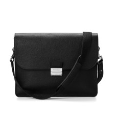 Savile Messenger Bag in Black Pebble. Mens Messenger Bags from Aspinal of London