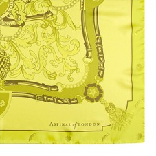 Aspinal Signature Shield Silk Scarf in Chartreuse Yellow. Ladies Silk Scarves from Aspinal of London