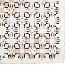 Marylebone Geometric Silk Scarf in Deer. Ladies Silk Scarves from Aspinal of London