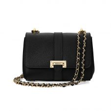 Lottie Bag in Black Pebble. Evening & Clutches from Aspinal of London