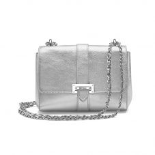 Lottie Bag in Smooth Metallic Silver. Evening & Clutches from Aspinal of London