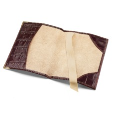 Plain Passport Cover in Amazon Brown Soft Croc & Stone Suede. Leather Passport Covers from Aspinal of London