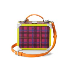 Aspinal x être cécile Mini Trunk Clutch in Deep Fuchsia Plaid. Evening & Clutches from Aspinal of London