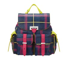 Aspinal x être cécile Letterbox Rucksack in Navy Plaid. Handbags & Clutches from Aspinal of London