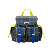Aspinal x être cécile Mini Letterbox Rucksack in Forest Green Plaid. Handbags & Clutches from Aspinal of London