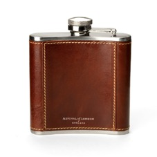 Classic 5oz Leather Hip Flask in Smooth Cognac. Classic 5oz Leather Hip Flasks from Aspinal of London