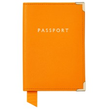 Plain Passport Cover in Smooth Amber & Amber Suede. Leather Passport Covers from Aspinal of London