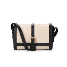 Mini Shoulder Buckle Bag in Monochrome Mix. Evening & Clutches from Aspinal of London