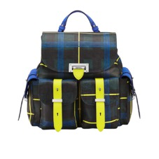 Aspinal x être cécile Letterbox Rucksack in Forest Green Plaid. Handbags & Clutches from Aspinal of London
