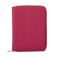 A5 Zipped Padfolio in Smooth Deep Fuchsia Pink & Orange Amber Suede. Leather Portfolios & Padfolios from Aspinal of London
