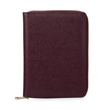 A5 Zipped Padfolio in Burgundy Saffiano & Black Suede. Leather Portfolios & Padfolios from Aspinal of London