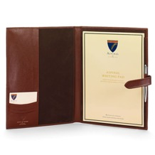 A4 Padfolio in Smooth Cognac & Espresso Suede. Leather Portfolios & Padfolios from Aspinal of London