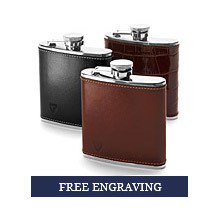 Classic 5oz Leather Hip Flasks. Leather Hip Flasks from Aspinal of London