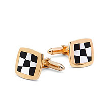 9ct Gold Black Onyx & Mother of Pearl Chequered Cufflinks. Sterling Silver, Gold & Enamel Cufflinks from Aspinal of London