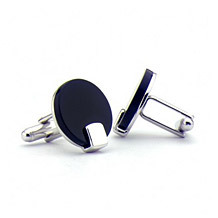 Full Moon Cufflinks. Sterling Silver, Gold & Enamel Cufflinks from Aspinal of London