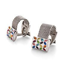 Swarovski Cufflinks. Sterling Silver, Gold & Enamel Cufflinks from Aspinal of London