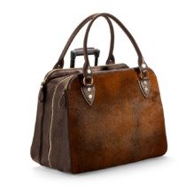 Buffalo Cabin Bag in Brown Calfskin with Brown Haircalf. Mens Travel Bags from Aspinal of London
