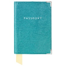 Plain Passport Cover in Turquoise Lizard. Leather Passport Covers from Aspinal of London