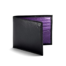 Exotic Billfold Wallet in Smooth Black with Violet Snake. Leather Billfold Wallets from Aspinal of London