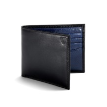 Exotic Billfold Wallet in Smooth Black with Lapis Blue Snake. Leather Billfold Wallets from Aspinal of London