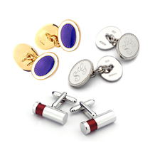 Sterling Silver, Gold & Enamel Cufflinks. Mens Collection from Aspinal of London