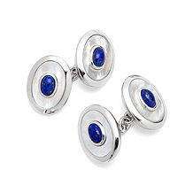 Sterling Silver Lapis Centre Double Oval Cufflinks. Sterling Silver, Gold & Enamel Cufflinks from Aspinal of London