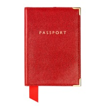 Plain Passport Cover in Red Lizard. Leather Passport Covers from Aspinal of London