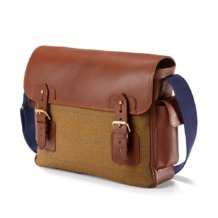 England Large Messenger Bag in Brown Saddle Leather & Tweed. Mens Messenger Bags from Aspinal of London