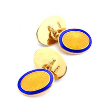 Sterling Silver & Gold Enamel Faberge Style Cufflinks. Sterling Silver, Gold & Enamel Cufflinks from Aspinal of London