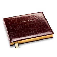 Classic Fishing Book in Amazon Brown Croc. Leather Fishing Books from Aspinal of London