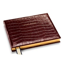Classic Game Book in Amazon Brown Croc. Leather Game Books from Aspinal of London