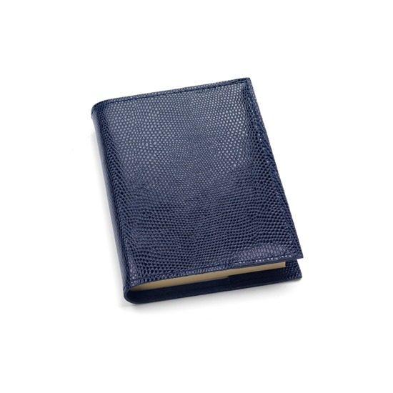 Refillable Pocket Notebook in Navy Lizard from Aspinal of London