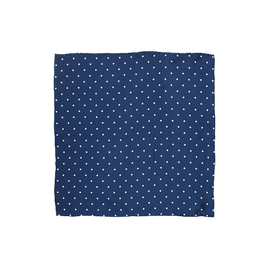 Polka Dot Pocket Square Silk Handkerchief in Blue & White from Aspinal of London
